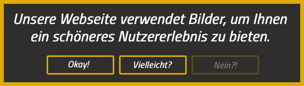 Unsere Webseite verwendet Bilder - Cookie-Hinweis Banner