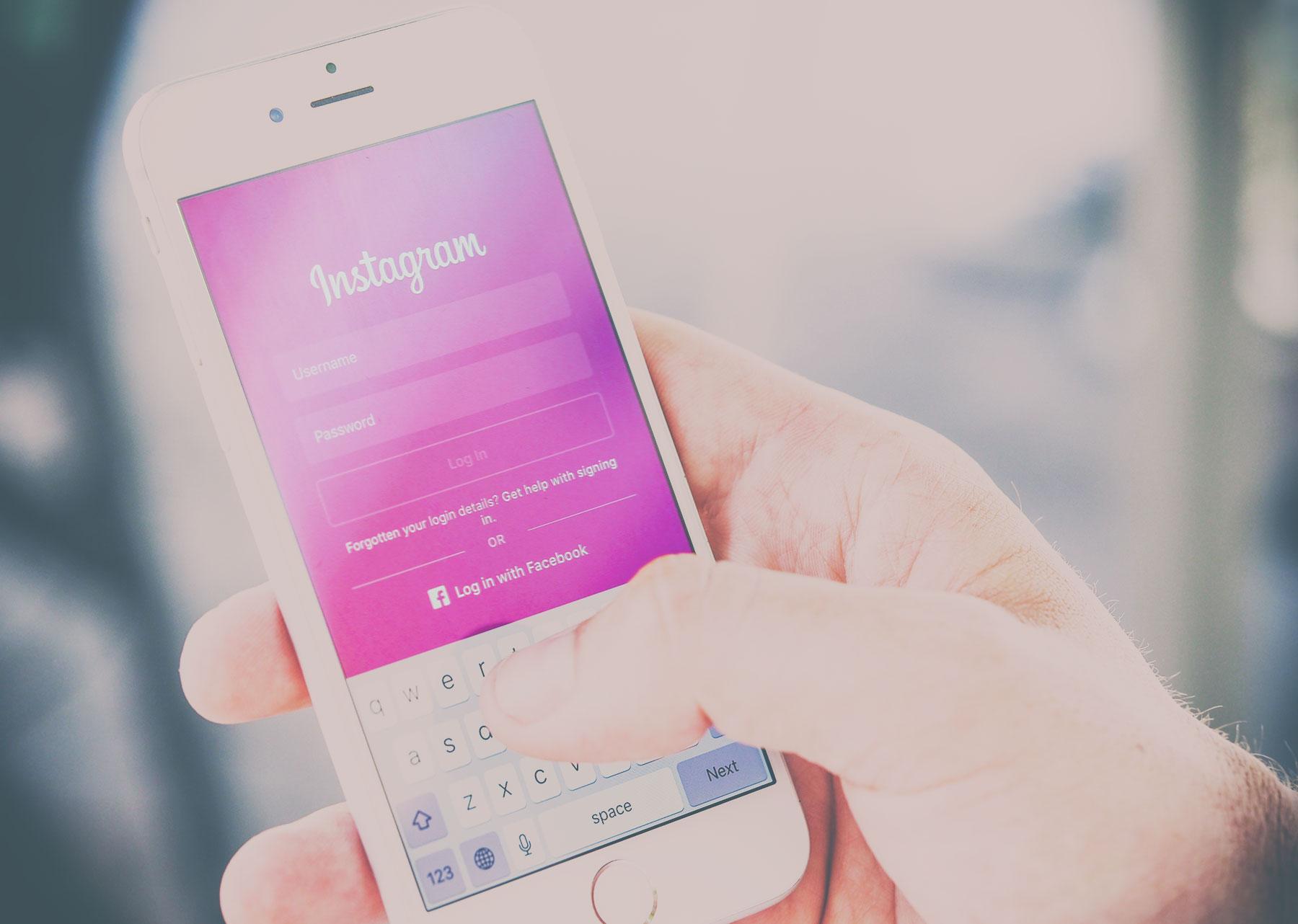 Instagram Log-In Fenster am Handy
