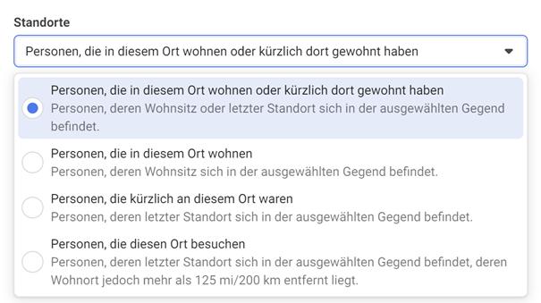 Screenshot zu Facebook Targeting nach Standort