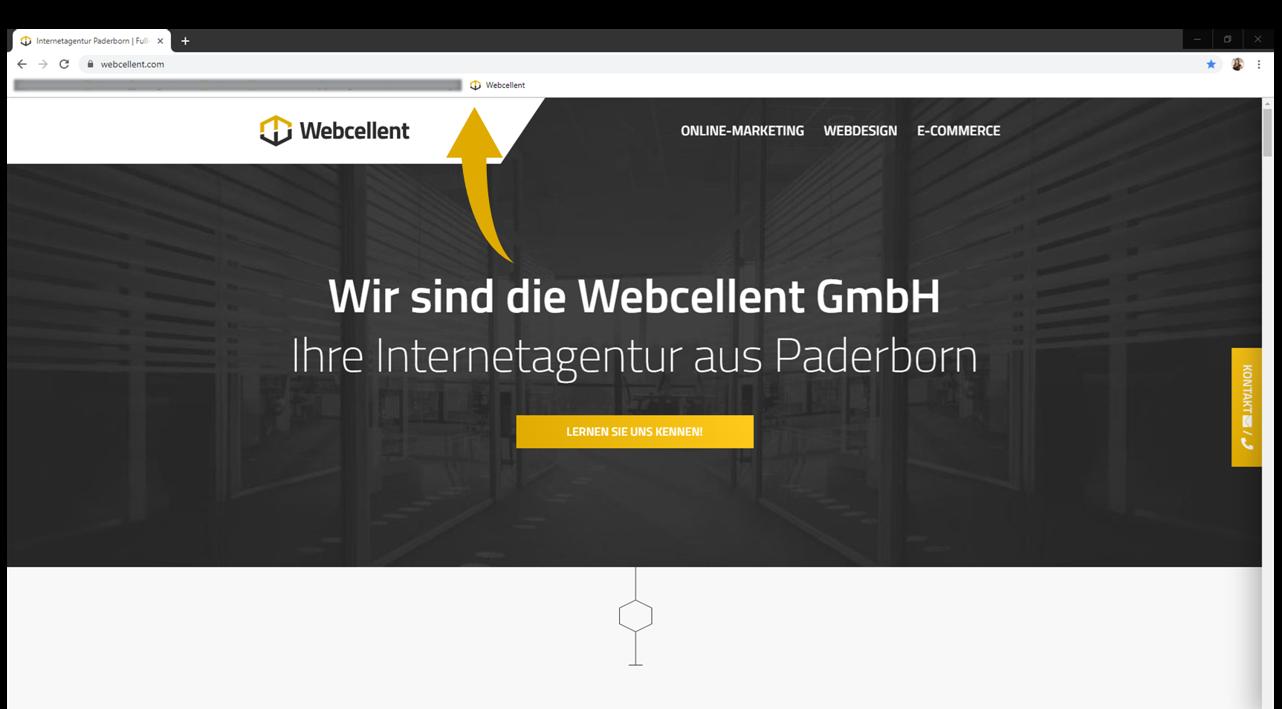 Das Flat Design Logo der Webcellent ist als Favicon noch klar erkennbar