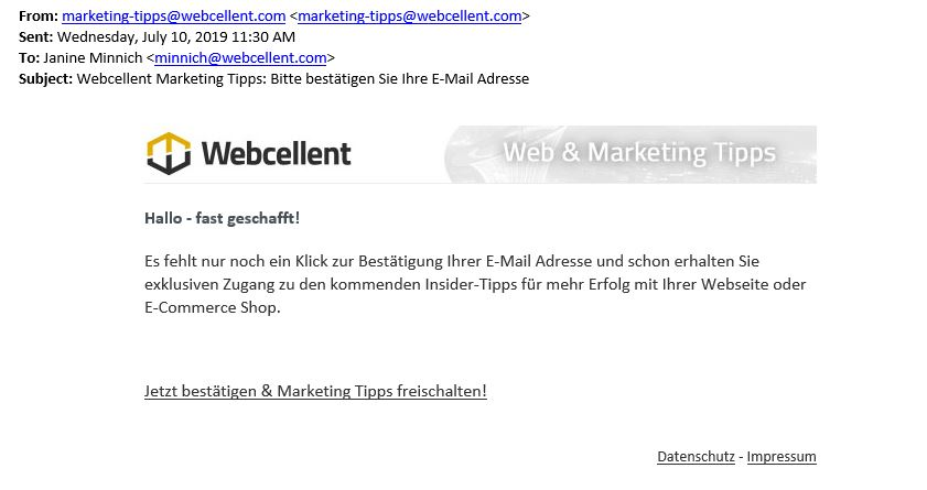 Newsletter Double-Opt-In E-Mail Beispiel